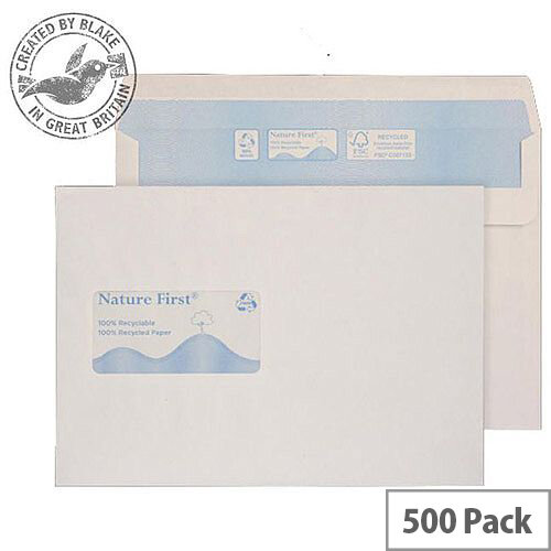 Purely Environmental Wallet Self Seal Wndw White 90gsm C5 162x229 (Pack of 500)
