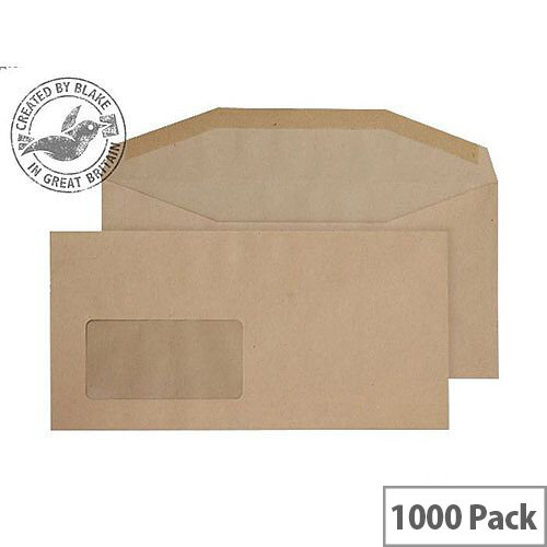 Purely Everyday Manilla DL+ Envelopes Mailer Wallet Window Gummed 80gsm Pack of 1000
