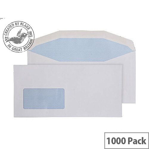 Purely Everyday White DL+ Envelopes Mailer Wallet Gummed Low Window 90gsm Pack of 1000