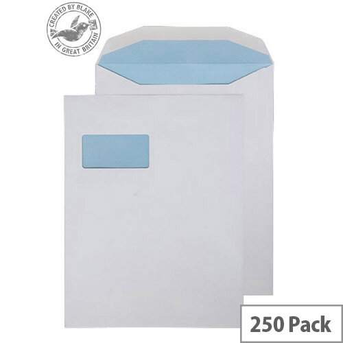 Purely Everyday Mailer Envelopes Gummed High Window White 100gsm 310x238mm Pack of 250