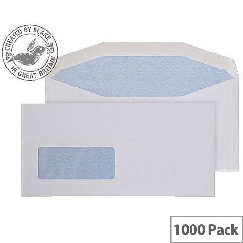 Purely Everyday White DL+ Envelopes Mailer Wallet Low Window Gummed 90gsm Pack of 1000