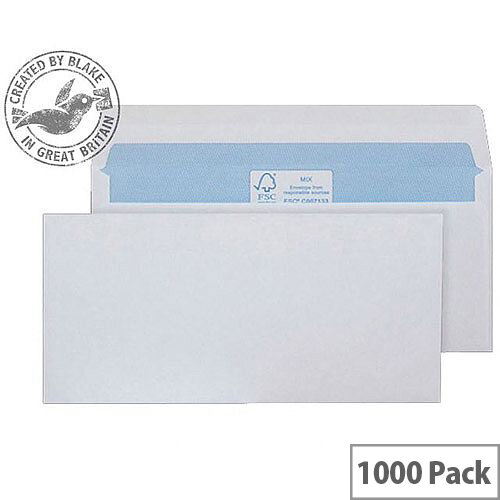 Purely Environmental White DL Mailer Gummed Envelopes 90gsm Pack of 1000