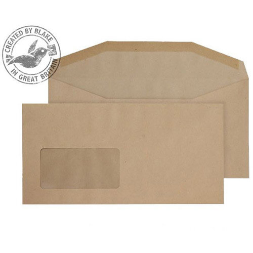Purely Everyday Manilla Envelopes DL+ Mailer Wallet Window Gummed 80gsm Pack of 1000