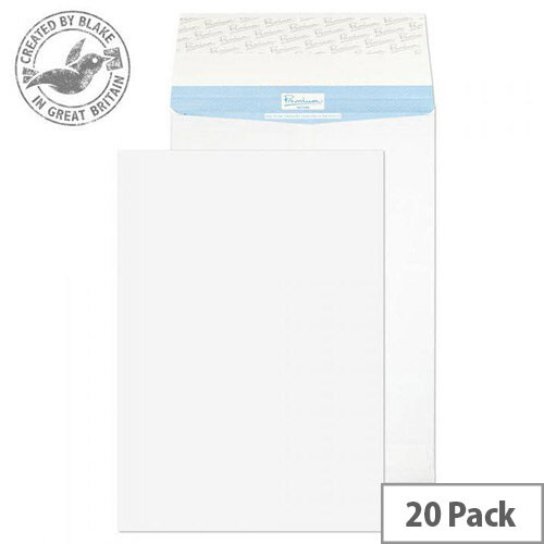 Blake Premium Secure Pocket Peel and Seal White 381X254X25mm 125gsm Envelopes Pack of 20