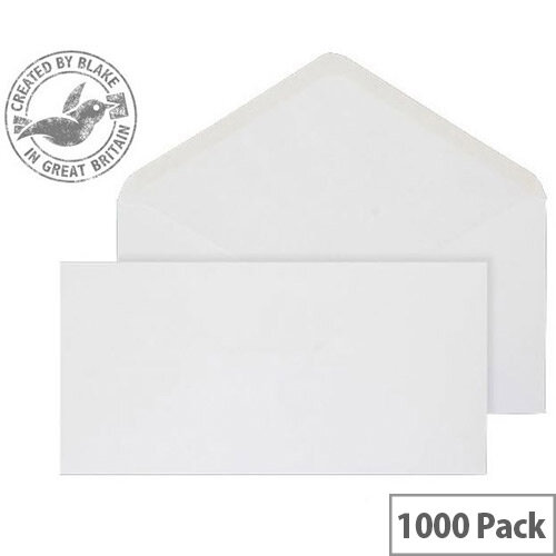 Purely Everyday Banker Invitation Envelopes Gummed White 90gsm 106x206mm Pack of 1000