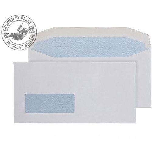 Purely Everyday White DL Mailer Wallet Low Window Gummed Envelopes 110gsm Pack of 1000
