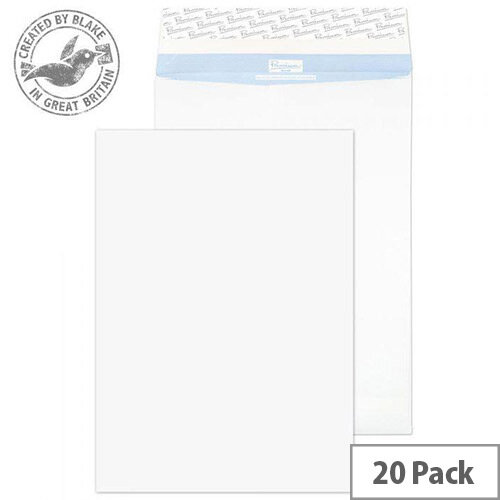 Blake Premium Secure Pocket Peel and Seal White 406x305x50mm 125gsm Envelopes Pack of 20