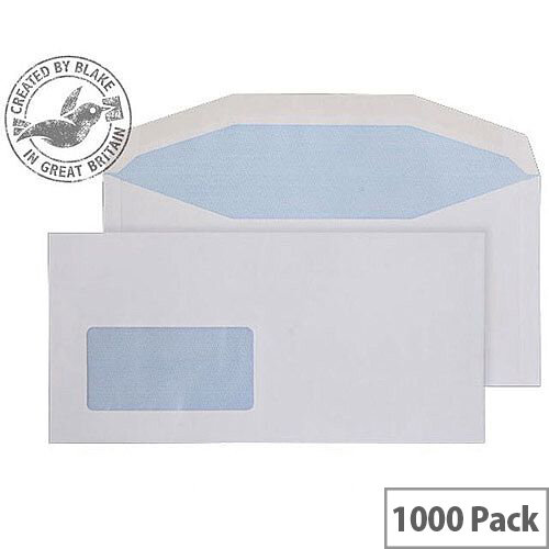 Purely Everyday White DL+ Envelopes Mailer Wallet Low Window Gummed 100gsm Pack of 1000
