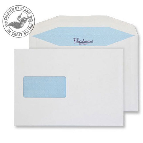 Blake Prem Pstfast Mailing Wallet Window Gum White C5+162x235 90gsm Ref (Pack of 500)
