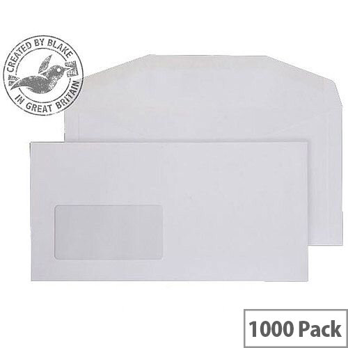 Purely Everyday White DL+ Envelopes Mailer Wallet Window Gummed 110gsm Pack of 1000