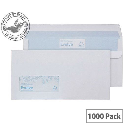 Purely Environmental DL White Wallet Self Seal Window Envelopes 90gsm Pack of 1000