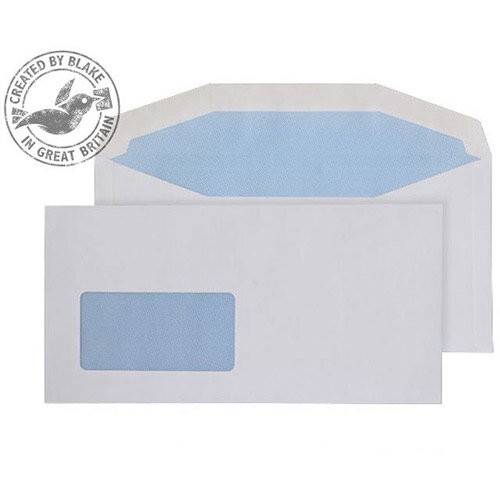 Purely Everyday White DL+ Envelopes Mailer Wallet Low Window Gummed 110gsm Pack of 1000