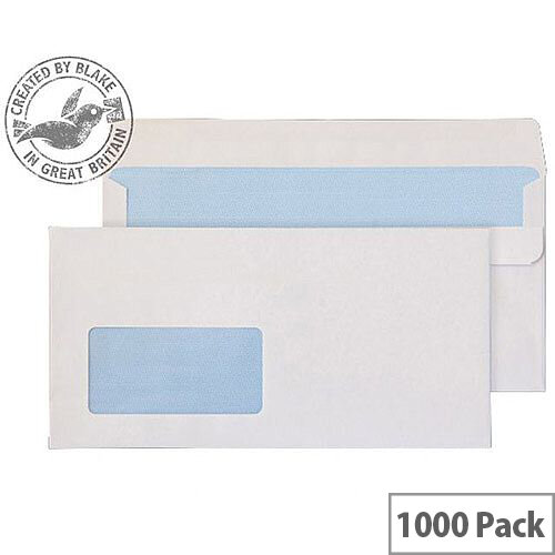 Purely Everyday DL+ White Self Seal Wallet Window Envelopes 90gsm Pack of 1000