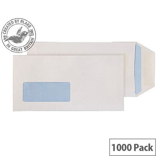 Purely Everyday White DL Pocket Self Seal Low Window Envelopes 90gsm Pack of 1000