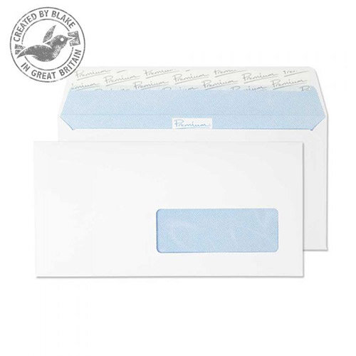 Premium Office DL Ultra White Wove Wallet French Window Envelopes 120gsm Pack of 500