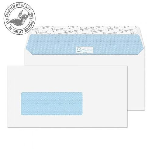Premium Office DL Ultra White Wove Wallet Dutch Window Envelopes 120gsm Pack of 500