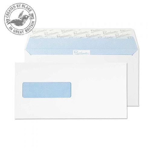 Premium Office DL Ultra White Wove Wallet Norwegian Window Envelopes 120gsm Pack of 500