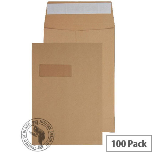 Blake Premium Avant Garde Board Back Pocket Envelopes Peel and Seal Window Cream Manilla C4 324×229mm 130gsm Pack of 100