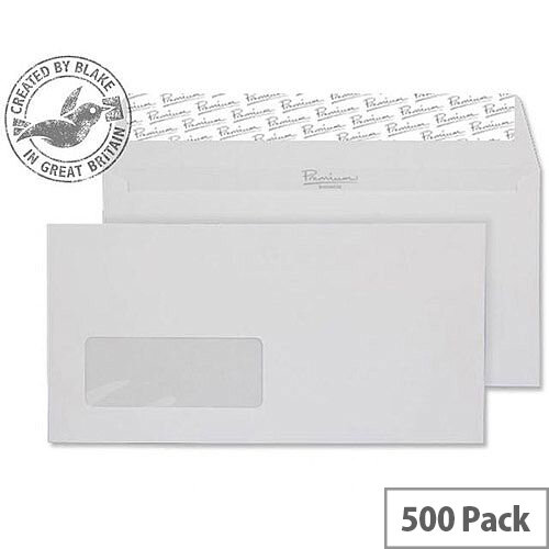 Blake Premium Business DL Diamond White Wallet Peel &Seal Window Envelopes 120gsm Pack of 500