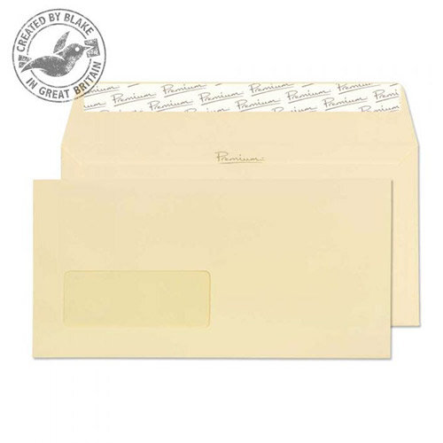 Blake Premium Business DL Cream Wallet Window Laid Vellum 120gsm Pack of 500