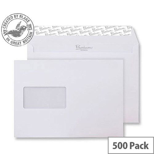 Blake Premium Business Wallet Window P& Ice White Wove C5 120gsm (Pack of 500)