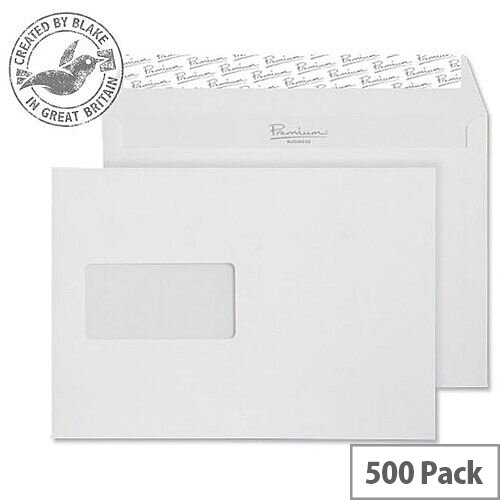 Blake Premium Business Wallet Window P& High White Wove C5 120gsm (Pack of 500)