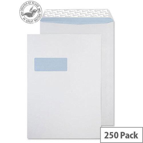 Blake Premium Off Envelopes Pocket Window Peel and Seal White Wove B4 352x250 120gsm Pack of 250