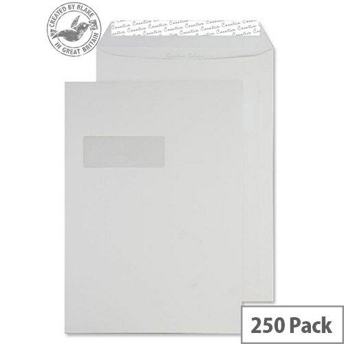 Creative Colour Ice White Pocket Window C4 Envelopes (Pack of 250)