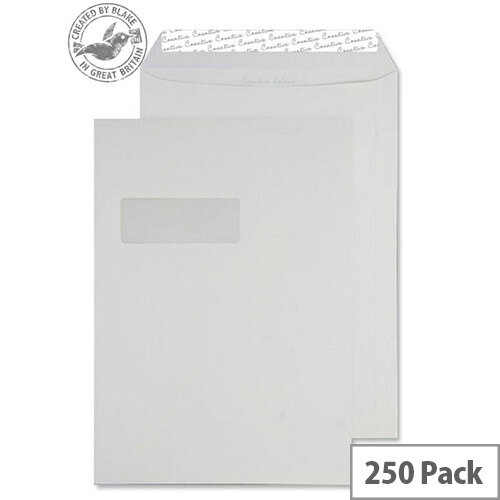 Creative Colour Clotted Cream Pocket Window C4 Envelopes (Pack of 250)