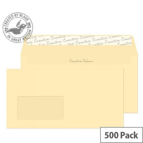 Creative Colour Clotted Cream Wallet Window DL+ Envelopes 120gsm Pack of 500