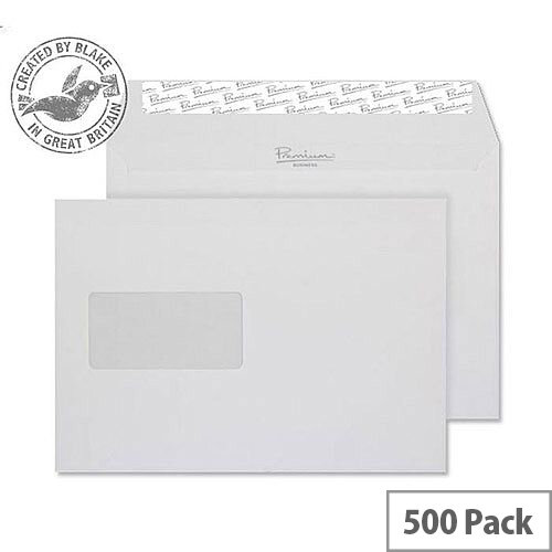 Blake Premium Bus Wallet Window P& Diamond White Laid C5 120gsm (Pack of 500)