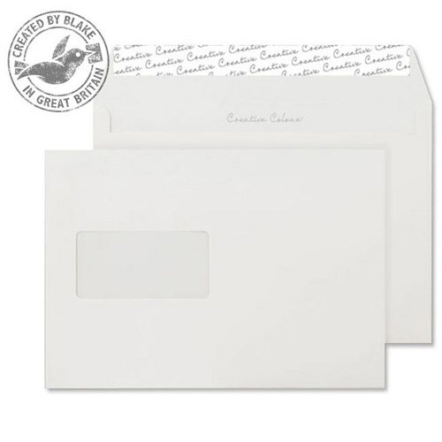 Creative Colour Wallet P& Window Milk White 120gsm C5 162x229mm (Pack of 500)