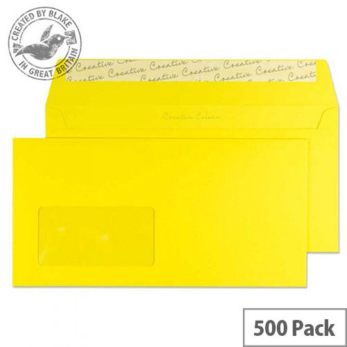 Creative Colour Banana Yellow Window DL+ Envelopes (Pack of 500)