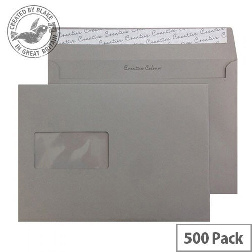 Creative Colour Window Storm Grey 120gsm Wallet C5 Envelopes(Pack of 500)