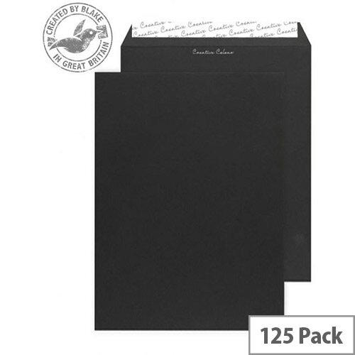 Creative Colour Jet Black Gusset Pocket C4 Envelopes (Pack of 125)