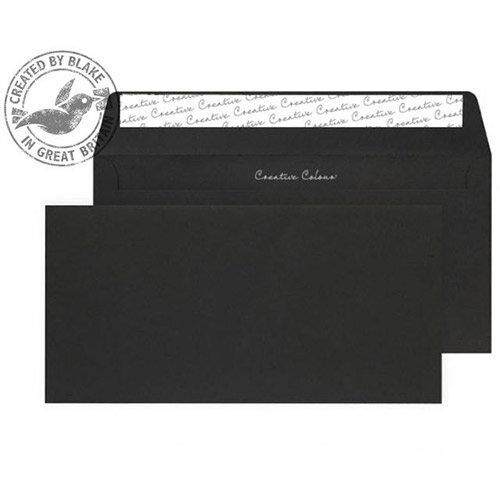 Creative Colour Jet Black DL+ Wallet Envelopes (Pack 500)