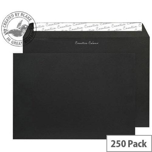 Creative Colour Jet Black Wallet C4 Envelopes (Pack of 250)