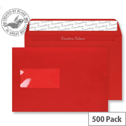 Creative Colour Pillar Box Red Wallet Window C5 Envelopes (Pack of 500)