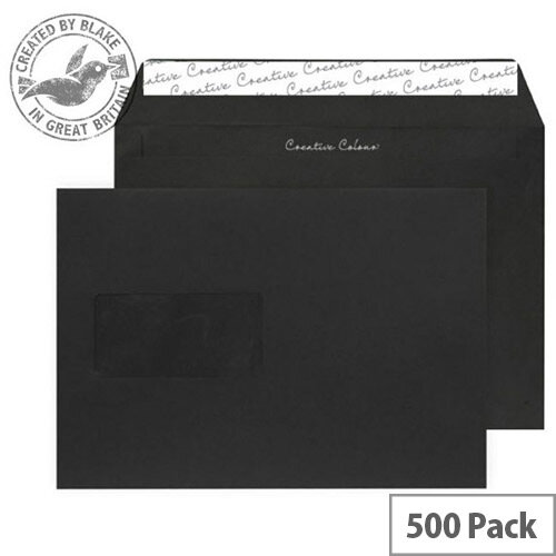 Creative Colour Window Jet Black C5 Wallet Envelopes (Pack of 500)