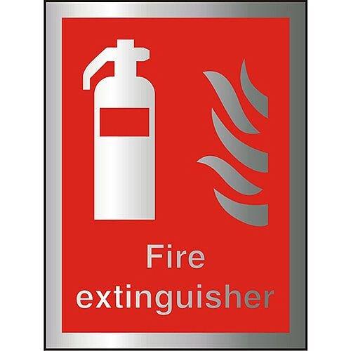 Brushed Aluminium Comp Sign 150x200 1.5mm Fire Extinguisher Self Adhesive