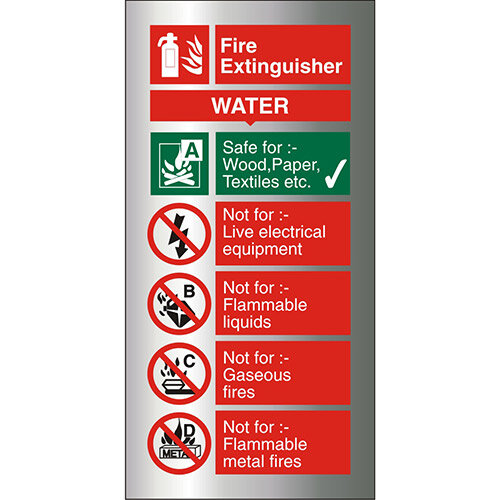 Brushed Aluminium Comp Sign 100x200 1.5mm Fire Extinguisher Water Self Adhesive