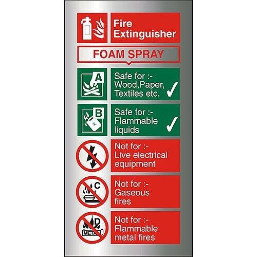 Brushed Aluminium Sign 100x200 1.5mm Fire Extinguisher Foam Spray Self Adhesive