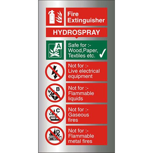 Brushed Aluminium Sign 100x200 1.5mm Fire Extinguisher Hydrospray Self Adhesive