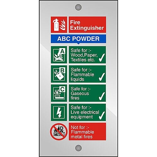 Clear Acrylic Sign 100x200 5mm Fire Extinguisher ABC Powder