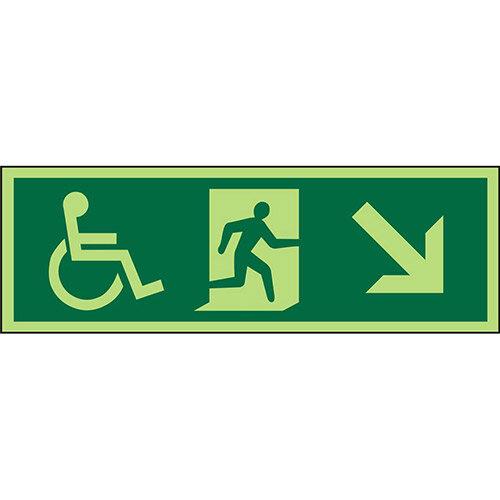 Photol Exit Sign 2mm 450x150 Wheelchair Picto/Man Run Down Right Arrow