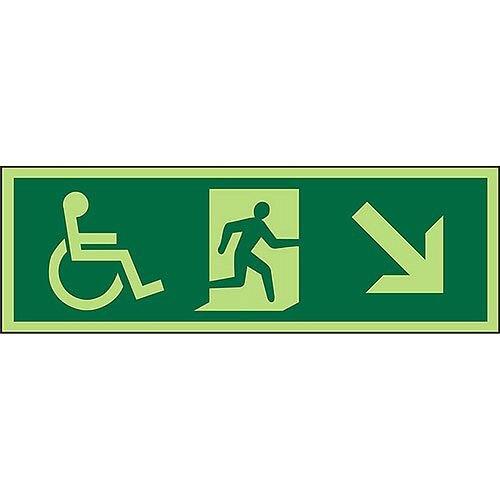 Photoluminescent Exit Sign 2mm Wheelchair Pictogram /Man Run Down Right Arrow PVC