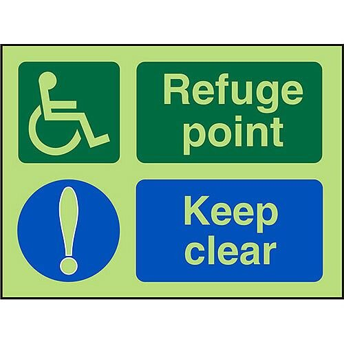 Photol Exit Sign 2mm Wheelchair Pictogram/Refuge Point Keep Clear