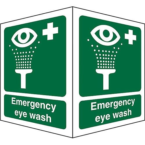Protruding Sign 2 Faces 150x200 each 1mm Emergency Eye Wash
