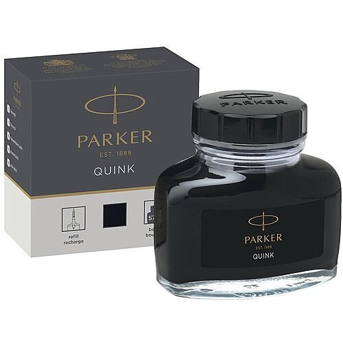Parker Quink Ink Bottle Black 57ml – Smooth, Blot Free, Suitable For Fountain Pens, No Skipping Or Scratching, Permanent Ink &Dry's Quickly (1950375)