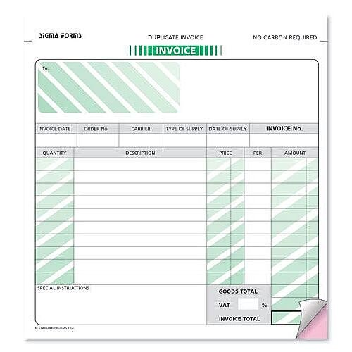 Invoice Form 2 Part Set 215x203mm Pack 50 Sigma